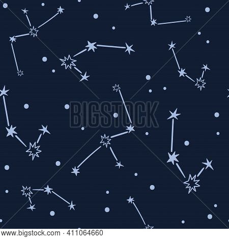 Celestial Black And White Stars Seamless Pattern - Hand Drawn Line Space Digital Paper With Constell