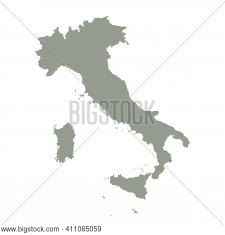 Silhouette Of Italy Country Map. Highly Detailed Editable Gray Map Of Italy, European Land Territory