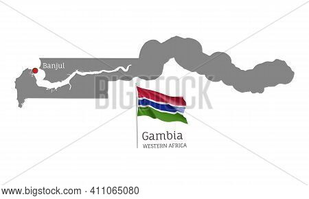 Silhouette Of Gambia Country Map. Gray Editable Map With Waving National Flag And Banjul Capital, We