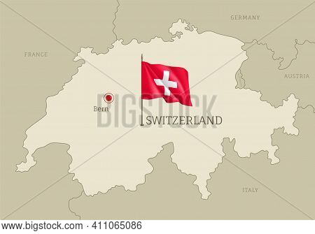 Silhouette Of Switzerland Country Map. Highly Detailed Editable Country Map Territory Borders With B