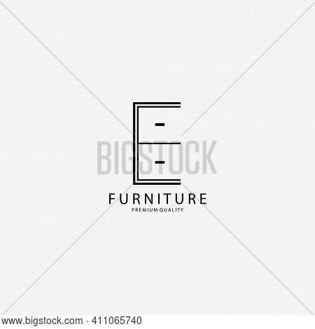 Furniture Cupboard Logo Vector Illustration Design Line Art