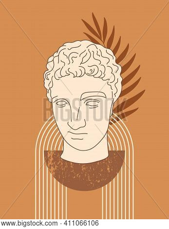 Abstract Boho Illustration With Antique Sculpture Of Hermes In A Minimal Trendy Style. Vector Contem