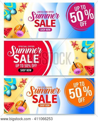 Summer Sale Vector Banner Set. Summer Sale Up To 50% Off Text In Beach Background With Colorful Trop