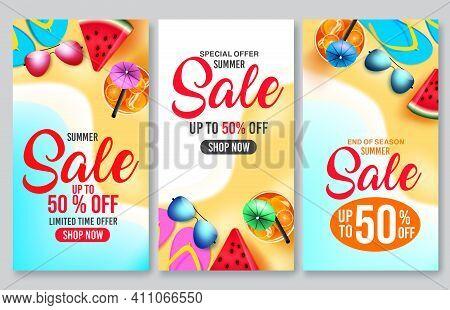 Summer Sale Vector Poster Set Design. Summer Sale 50% Off Shop Now Text In Beach Seashore Background