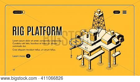 Oil Extraction On Sea And Continental Shelf Isometric Vector Web Banner With Offshore Drilling Rig P