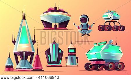 Future Space Exploring Technologies, Planets Colonization Architecture Cartoon Vector Icons Set. Fut