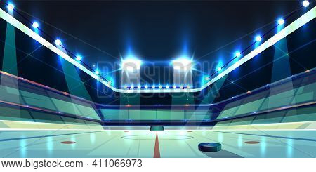 Vector Background Of Hockey Arena, Ice Rink With Black Rubber Puck. Sports Stadium With Spotlights F