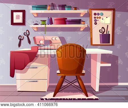 Vector Background Of Tailor Room, Handicraft Or Needlework Area. Studio Of A Seamstress With A Sewin