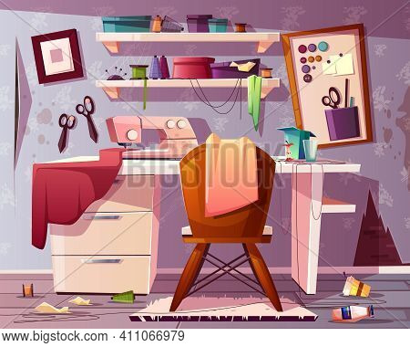 Vector Background Of Dirty Tailor Room, Handicraft Or Needlework Area With Trash, Rubbish. Mess In S