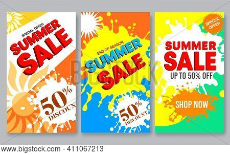 Summer Sale Vector Poster Set Design. Summer Sale 50% Off Text With Abstract Paint Splash Element In
