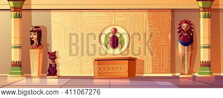 Vector Egyptian Cartoon Background. Tomb Interior - Bust Of Queen, Pharaoh Sarcophagus, Ancient Pill