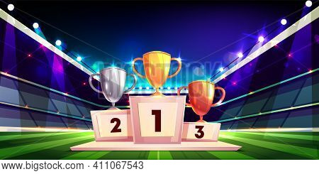 Victory In Sports Competition Cartoon Vector Concept With Golden, Silver And Bronze Cup Trophies Sta