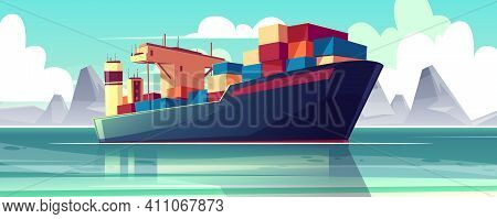 Vector Illustration With A Dry-cargo Ship At Sea, Ocean. Commerce Shipping, Delivery Of Goods. Carto