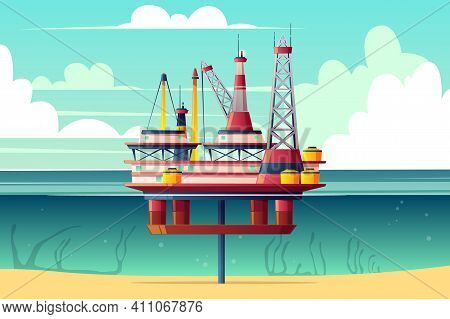 Semi-submersible Oil Platform, Sea-based Offshore Drilling Rig Cross Section Cartoon Vector Illustra