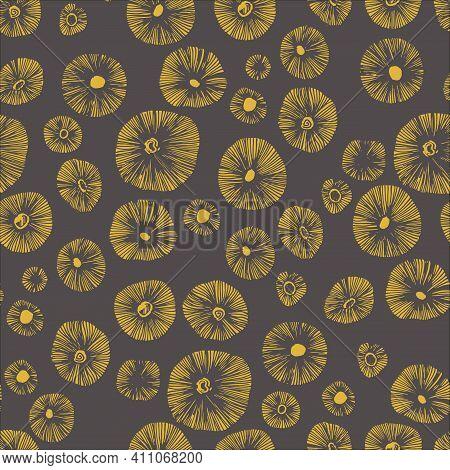 Mushrooms Caps Hand Drawn Linocut Seamless Vector Pattern. Mushroom Tidewater Green Colours For Prin