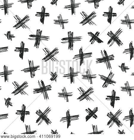 Vector Seamless Pattern Abstract Background With Brush Strokes.trendy Monochrome Texture With Pluses