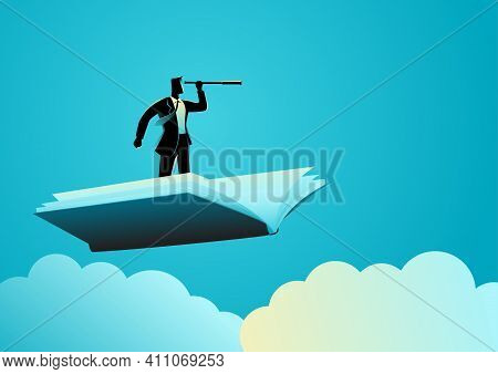 Business Concept Illustration Of Businessman Using Telescope On Flying Book, Knowledge, References,