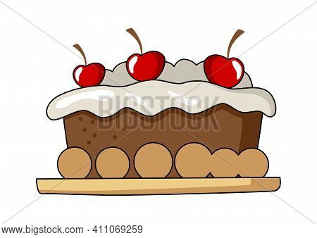 Vector Illustration Of A Cake Tart Isolated On White Background