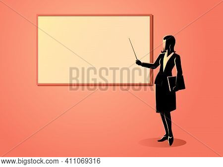 Vector Illustration Of A Woman Figure Standing Near Whiteboard