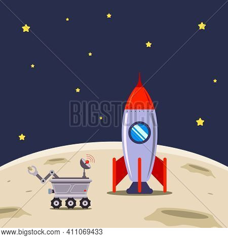 Spaceship Has Landed On The Moon For Exploration. Flat Vector Illustration.