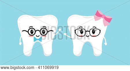 Cute Tooth Dentistry Character Girl And Boy In Glasses With Bow. Vector Illustration Happy Healthy K