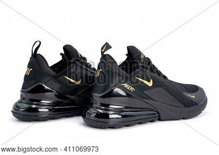 Bangkok, Thailand - 23 Mar 2020, Nike Air Max 270 Black And Gold Adult's Sport Shoes, Sneakers, Trai