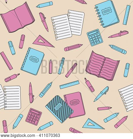 Pink And Blue School Supplies And Office Stationary On A Beige Background. Back To School, Education