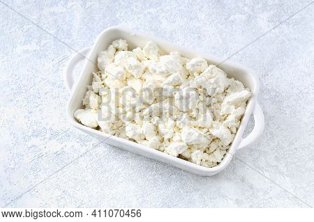 Cottage Cheese With Berries And Mint. Cottage Cheese In A Bowl. Dairy Products.