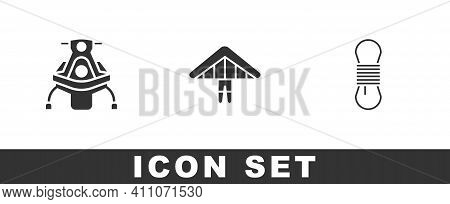 Set Snowmobile, Hang Glider And Climber Rope Icon. Vector