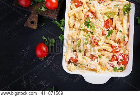 Fetapasta. Trending Viral Feta Bake Pasta Recipe Made Of Cherry Tomatoes, Feta Cheese, Garlic And He