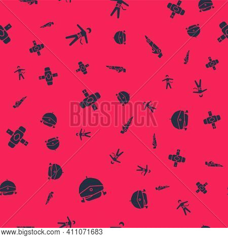 Set Speedboat, Bungee Jumping, Knee Pads And Formula 1 Racing Car On Seamless Pattern. Vector