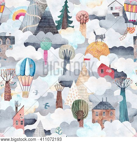 Cute clouds landscape with mountains, trees, houses and balloons. Travel by hot air balloons over the mountains. Watercolor seamless pattern. Trees, houses and mountains above the clouds.