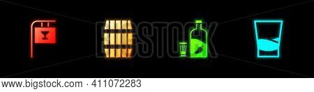 Set Street Signboard With Bar, Wooden Barrel, Vodka Pepper And Glass And Glass Of Vodka Icon. Vector
