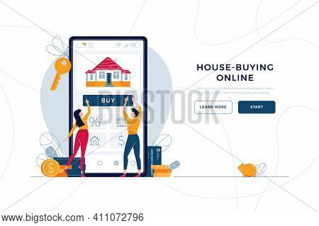 Buy A House Online Landing Page Template. Couple Buying New Home, Touching The Button On Smartphone