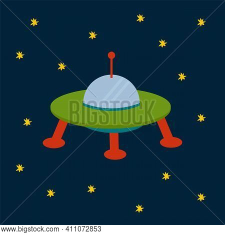 Ufos In The Solar System. Vector Cartoon Space Transport. Shuttle, Rocket, Satellite, Ufo For Fashio