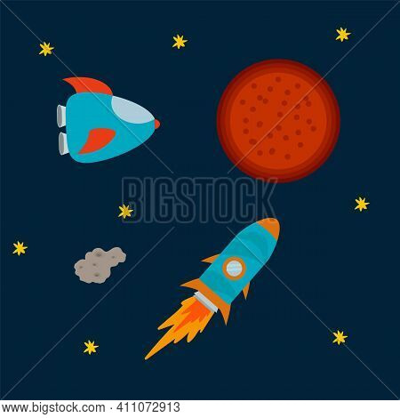 A Poster With A Rocket And A Shuttle. Cartoon Space Shuttles In The Solar System. Pattern For Childr