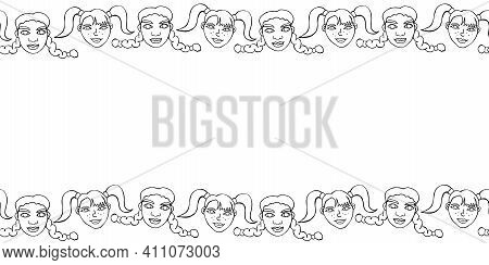Frame, Background, Seamless Pattern Of Contoured Faces Of Children, Girls With Ponytails And Pigtail