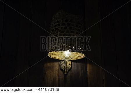 Incandescent Lamp Shining, Thai Lamp Hang On Ceiling With Copy Space Background