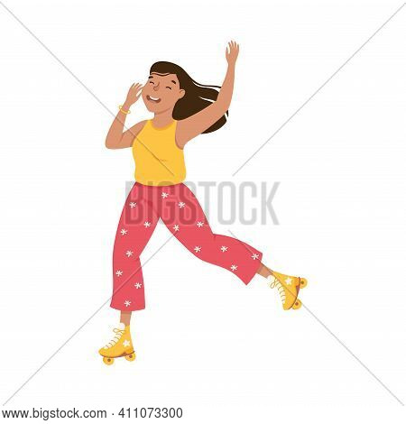 Smiling Woman Dancing On Roller Skates Performing Tricky Movement Vector Illustration