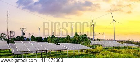 Solar Panels, Photovoltaics, And Wind Turbines In Rural Area- Alternative Electricity Source, Concep