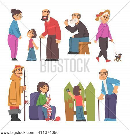 Grandpa And Grandma Knitting, Fishing, Walking The Dog And Playing With Their Grandson Vector Illust