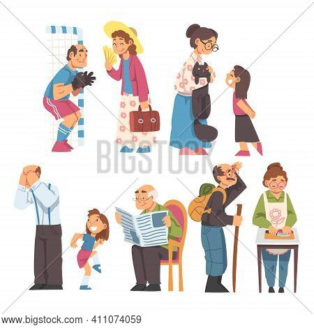 Grandpa And Grandma Cooking, Walking, Reading Newspaper And Playing With Grandchild Vector Illustrat