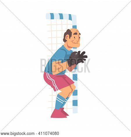 Grandpa Standing At Goalposts Playing Football Vector Illustration