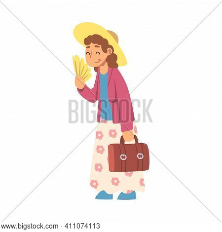 Grandma With Hand Fan Standing And Smiling Vector Illustration