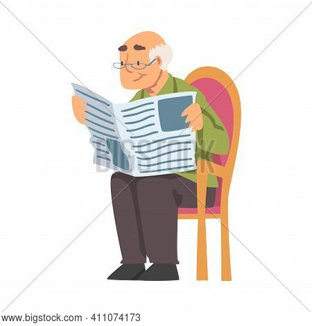 Grey-haired Grandpa In Glasses Sitting On Chair And Reading Newspaper Vector Illustration