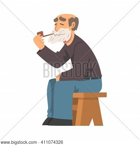 Bearded Grandpa Sitting On Bench And Smoking Pipe Vector Illustration