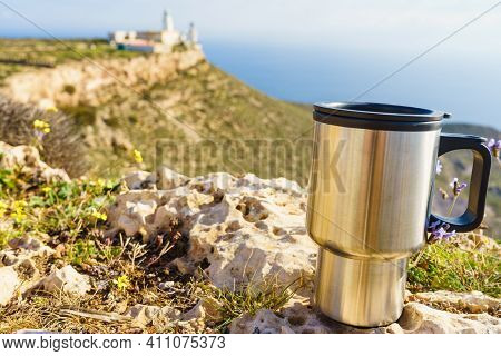 Thermal Mug, Thermos On Nature. Travel Outdoor Picnic.
