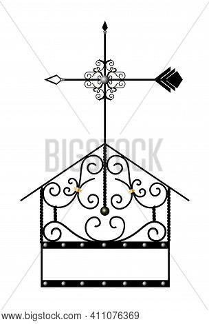 Covered On The Chimney. Fireplace Decor. Forged Facade Element. Artistic Forging. Vane.