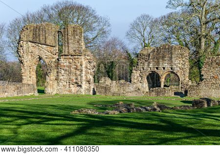 Greenfield, Flintshire, Uk: Mar 2, 2021: A Part Of The Ruins Of  Basingwerk Abbey At Greenfield Whic