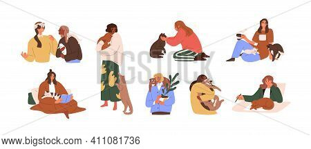 Set Of Women With Domestic Cats Isolated On White Background. Female Pet Owners Resting And Working